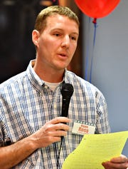 New Freedom Borough Council candidate Ryan Ross speaks as community members gather to meet candidates in New Freedom, Saturday, April 13, 2019. Dawn J. Sagert photo