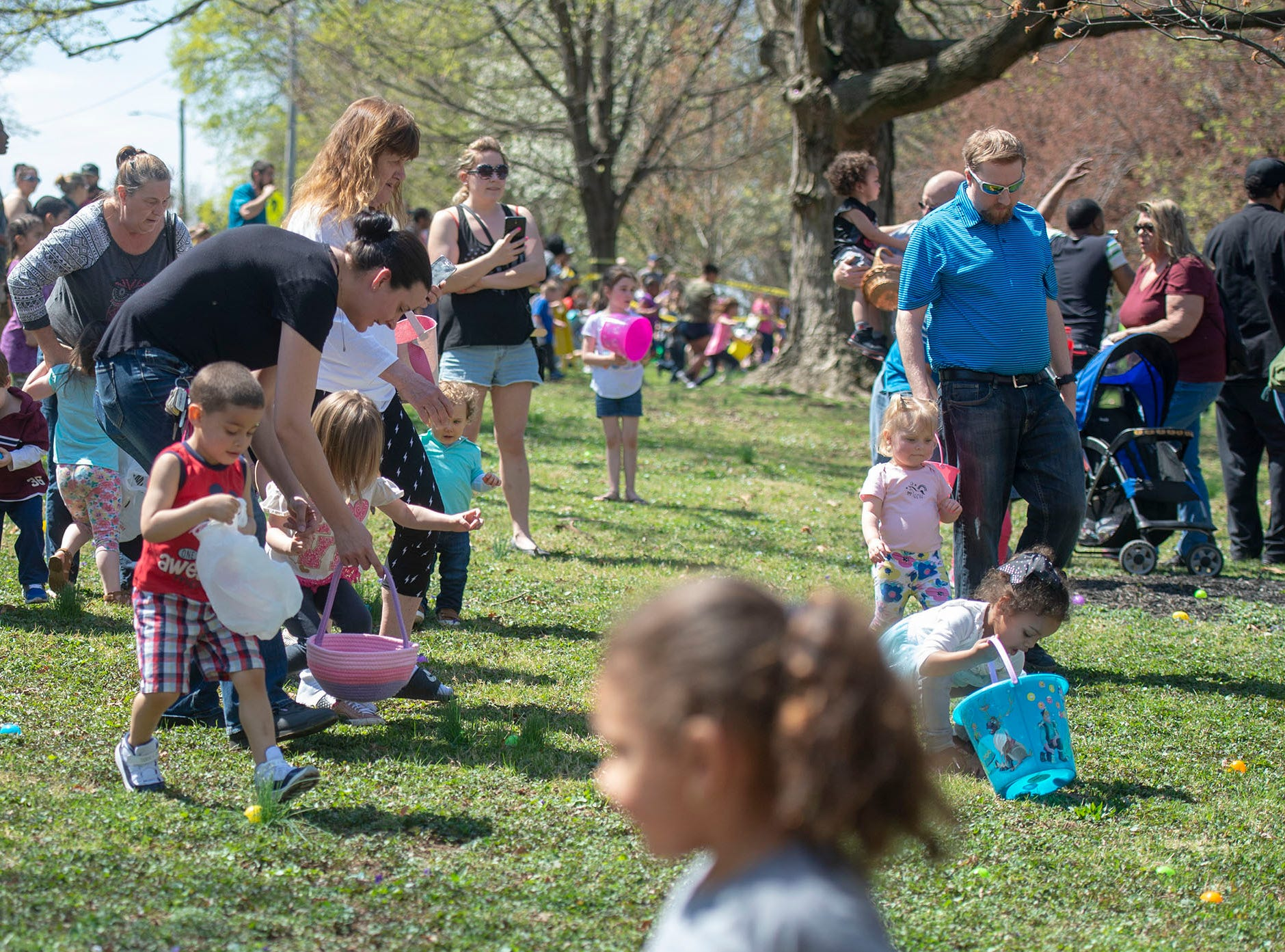 And they're off! A couple of minutes later all of the eggs in the 1-3-year-old division were found at the City of York's Easter Egg Hunt at Kiwanis Lake on Saturday, April 13, 2019.