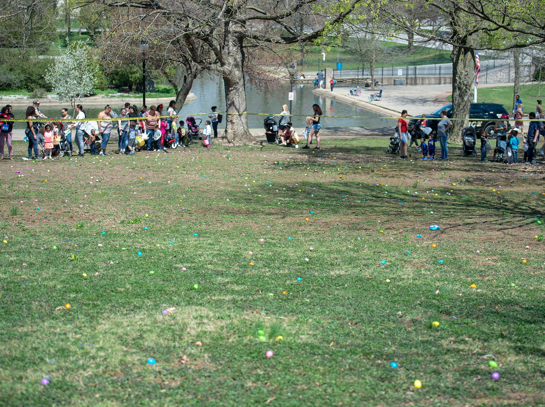 Adults and children await the start of the 1-3-year-old division at the City of York's Easter Egg Hunt at Kiwanis Lake on Saturday, April 13, 2019.