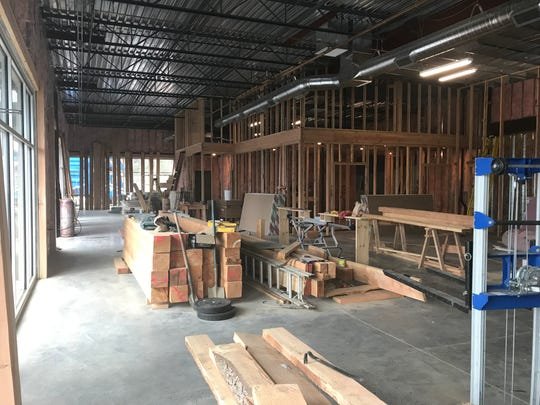 The main dining area at Gilgamesh Brewing's new West Salem Bar, The Woods, pictured here on April 4, 2019, begins to take shape.