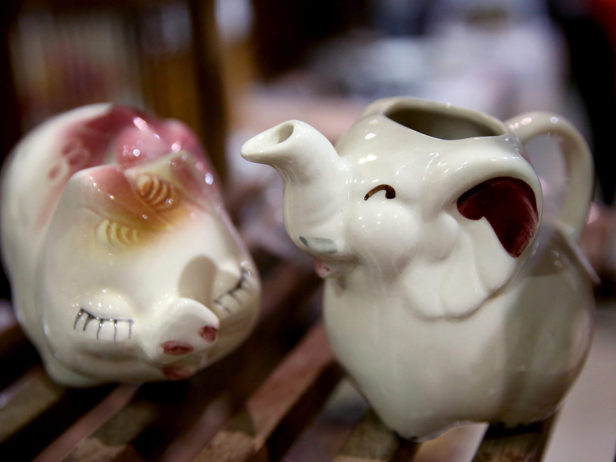 Ceramics are available during The Great Junk Hunt, a traveling vintage market, at the Oregon State Fairgrounds in Salem on April 13, 2019.