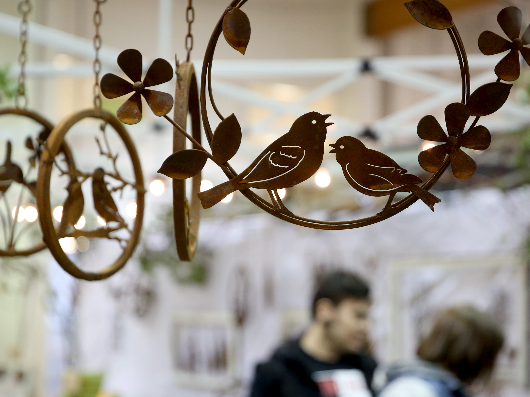 Metal yard art is available during The Great Junk Hunt, a traveling vintage market, at the Oregon State Fairgrounds in Salem on April 13, 2019.
