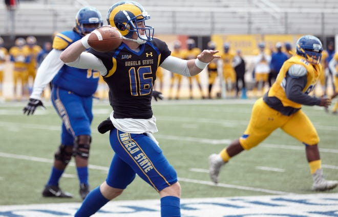 Angelo State University quarterback Zach Bronkhorst gets ready to pass during the Rams' 2019 spring game at LeGrand Stadium at 1st Community Credit Union Field Saturday, April 13, 2019.