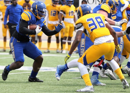 The Angelo State University running backs made a strong impression on first-year head coach Jeff Girsch during the 2019 spring game at LeGrand Stadium at 1st Community Credit Union Field Saturday April 13, 2019.