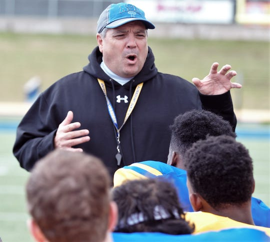 Angelo State University head football coach Jeff Girsch talks to the Rams after the 2019 spring game at LeGrand Stadium at 1st Community Credit Union Field Saturday, April 13, 2019.