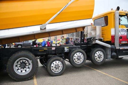 Parents brought their kids to Touch-a-Truck event Saturday, April 13, 2019, at San Angelo Stadium.