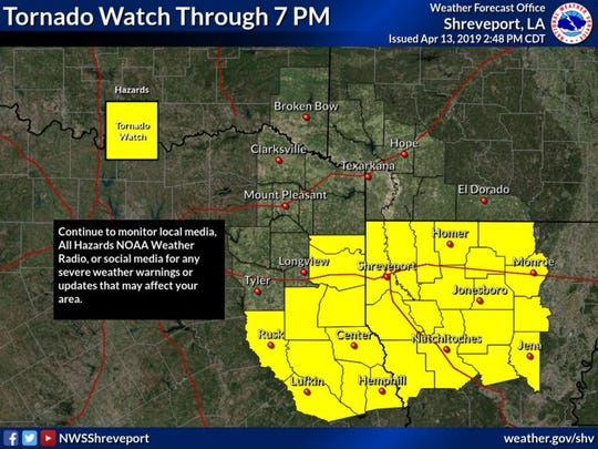 A tornado watch in northwest Louisiana was expanded Saturday afternoon to include Caddo and Bossier Parishes.