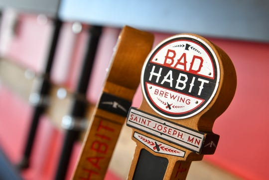 Tap handles are ready to go at the new Bad Habit Brewing Company location Saturday, April 13, in St. Joseph.