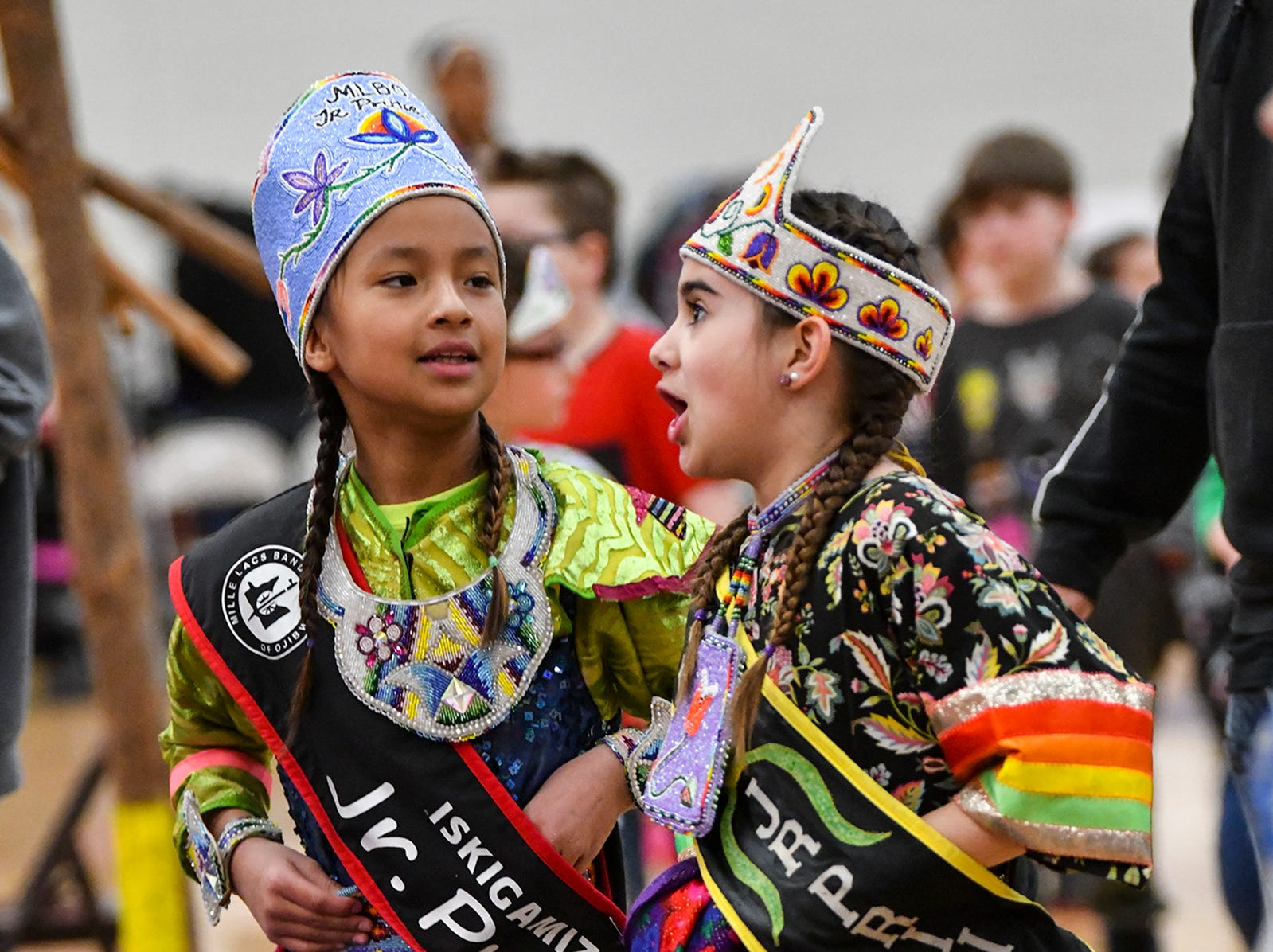 Young dancers take part in the 25th annual American Indian Center Powwow Saturday, April 13, at Apollo High School in St. Cloud.