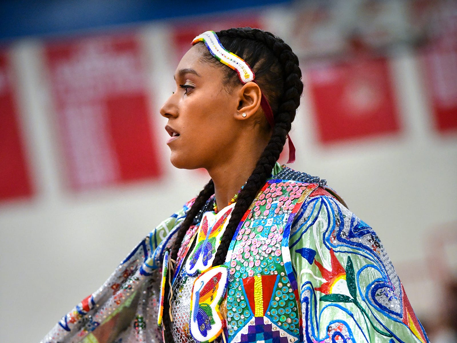 Shantelle Des Marais dances during the 25th annual American Indian Center Powwow Saturday, April 13, at Apollo High School in St. Cloud.