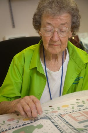 Anna Field volunteers her time creating handmade quilts that will be sold at the hospital's annual Jubilee of Trees later this year.