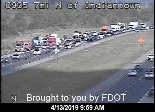 Southbound Interstate 95 was backed up for several hours Saturday for a fatal crash in Martin County.