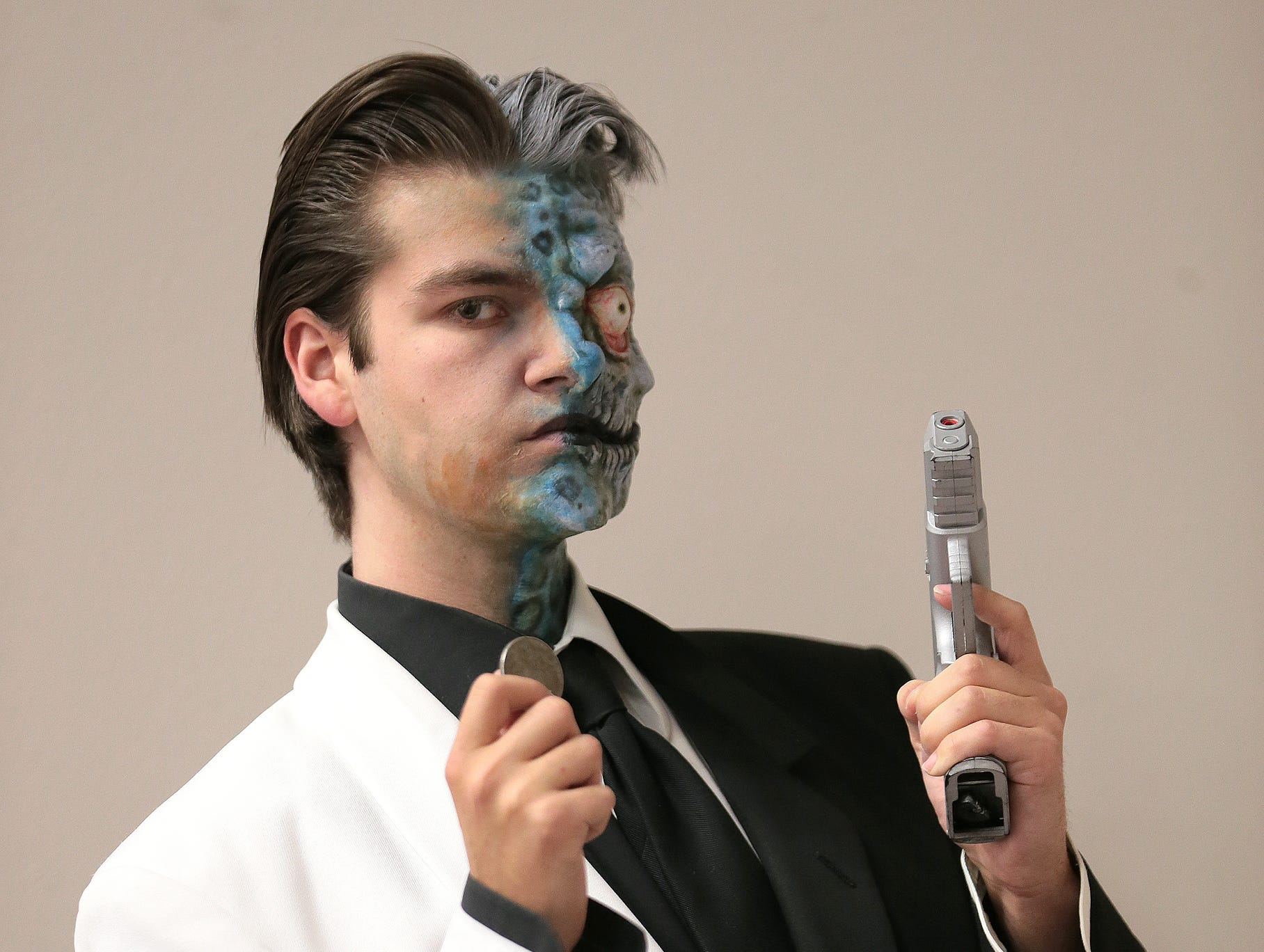 Nick Packard shows off his Two-Face costume complete with special effects makeup by Walter Welsh.