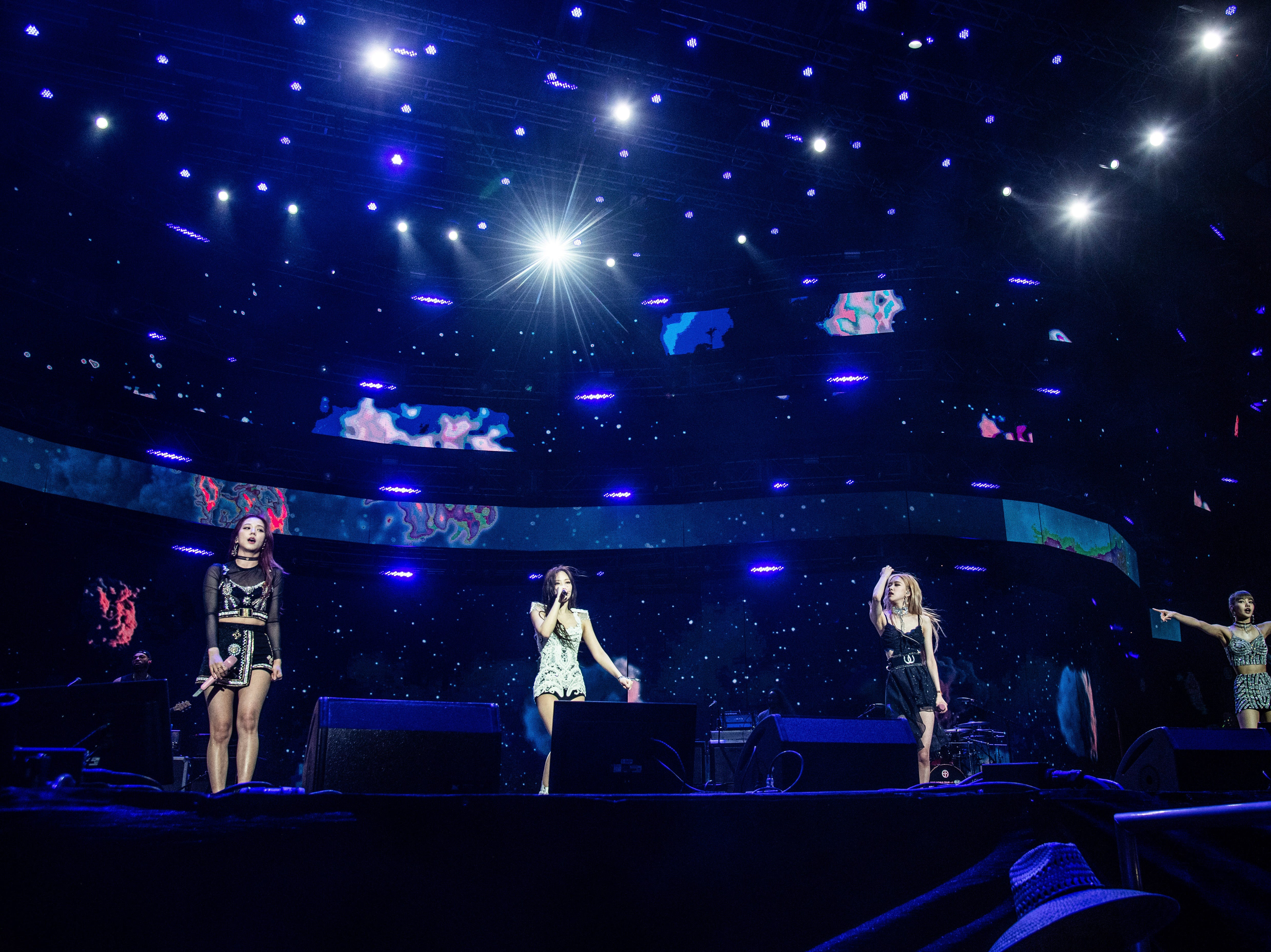 Jisoo, from left, Jennie Kim, Rose, and Lisa of BLACKPINK perform at the Coachella Music & Arts Festival at the Empire Polo Club on Friday, April 12, 2019, in Indio, Calif.