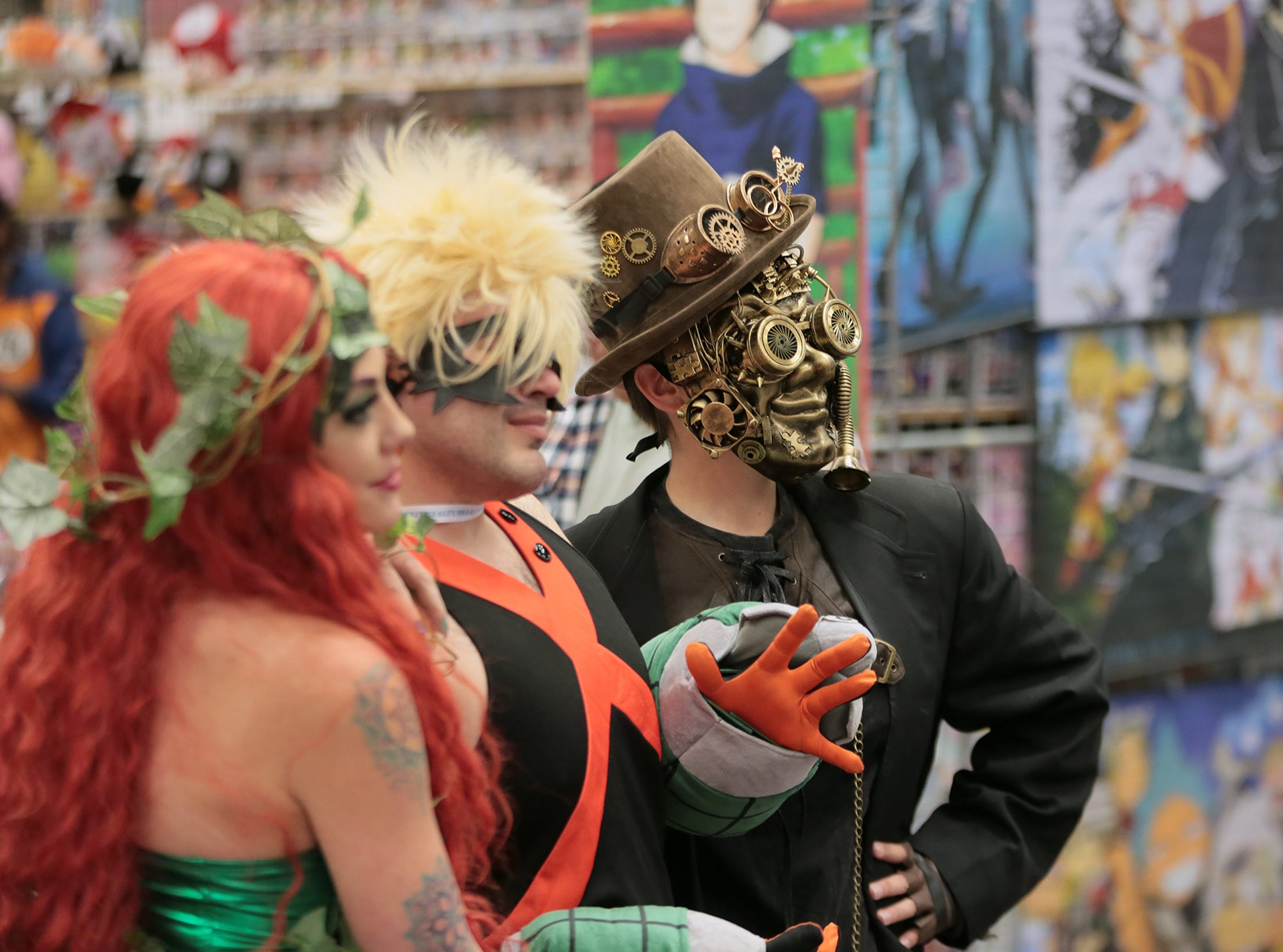 Cosplayers pose for a photo during El Paso Comic Con on Saturday, April 13, 2019, at the El Paso convention center.