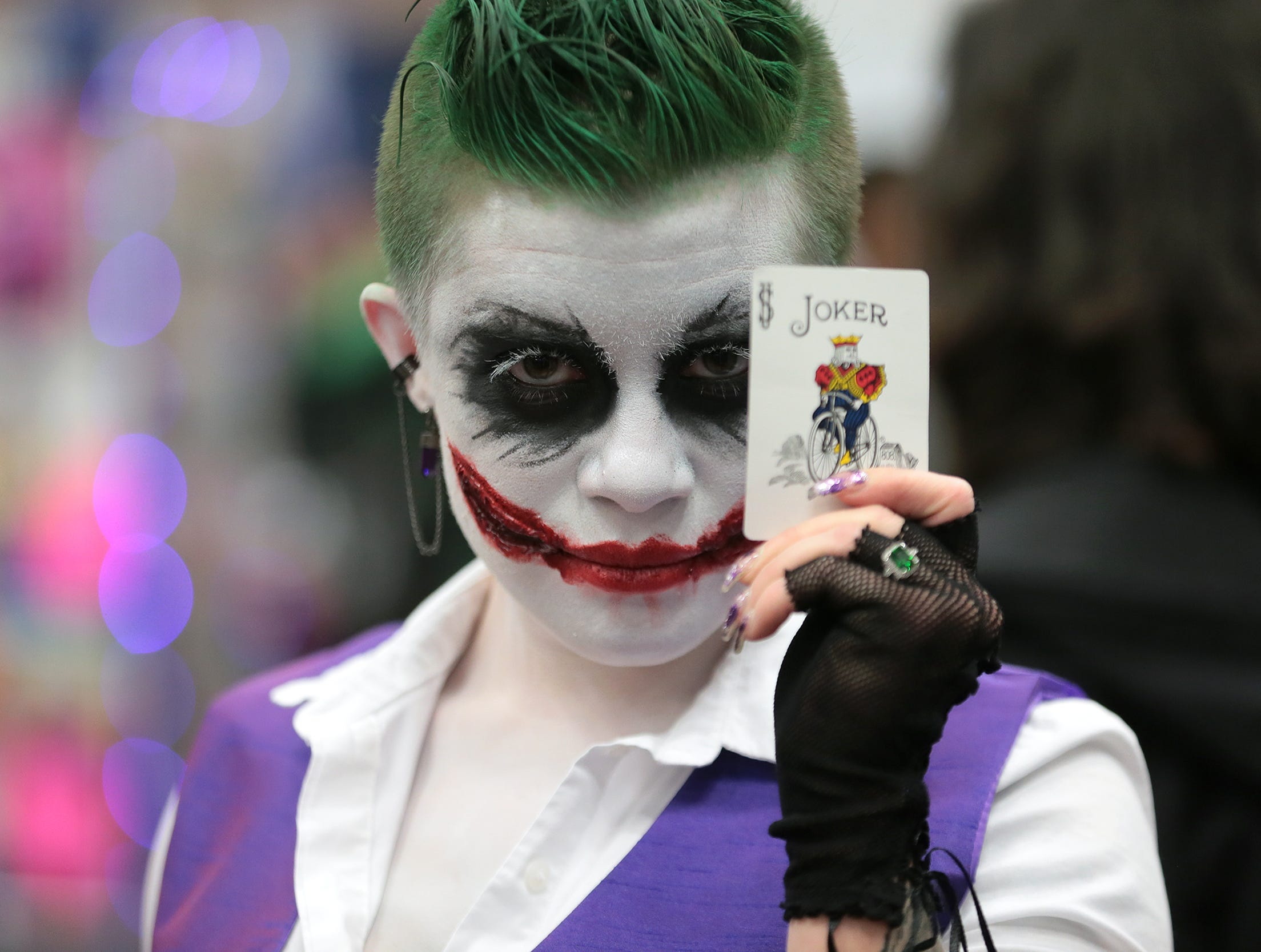 Nicole Harrison dressed as the Joker at El Paso Comic Con Saturday at the El Paso Convention Center.