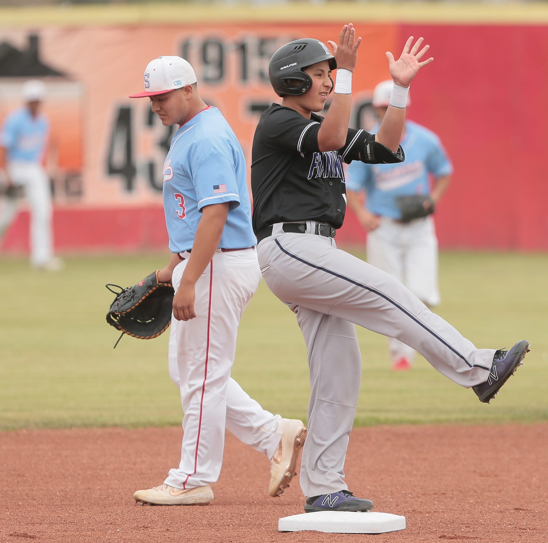 Franklin's Eddie Rodriguez celebrates after hitting a double against Socorro Friday at Socorro High School.