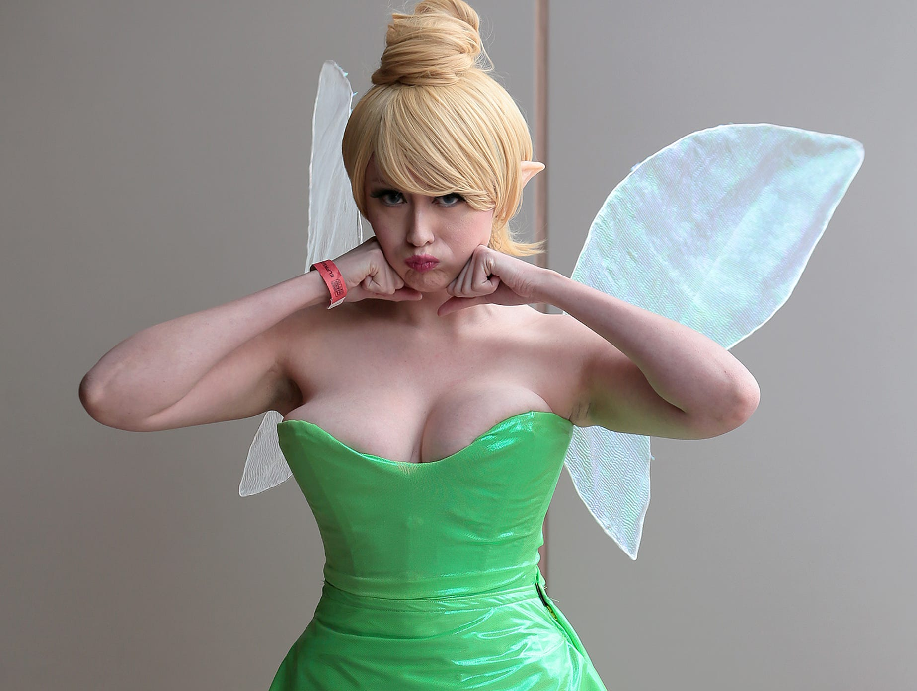 Glamerina Lune does her best pouting Tinkerbell during El Paso Comic Con on Saturday, April 13, 2019, at the convention center.