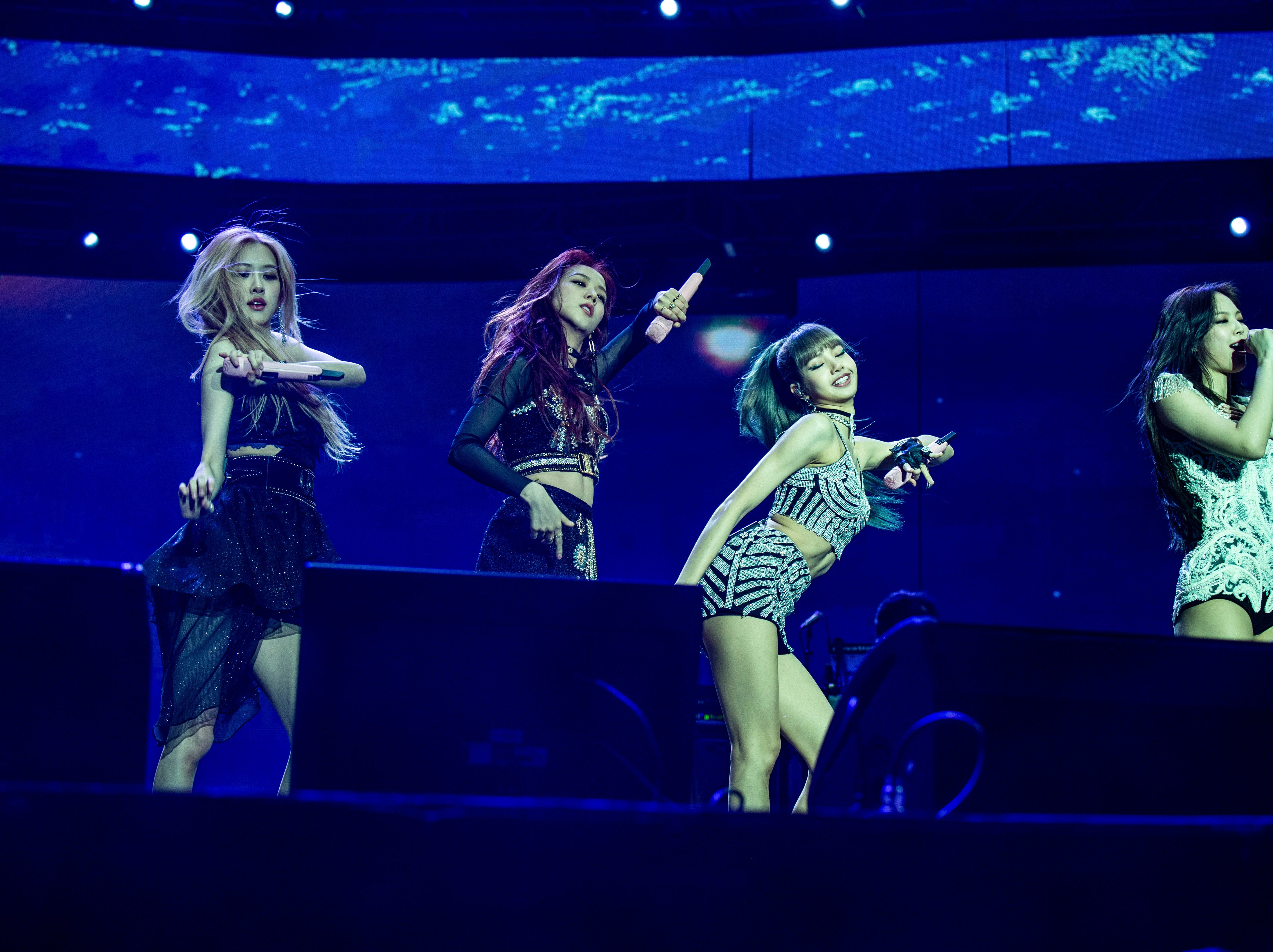 Rose, from left, Jisoo, Lisa, and Jennie Kim of BLACKPINK perform at the Coachella Music & Arts Festival at the Empire Polo Club on Friday, April 12, 2019, in Indio, Calif.