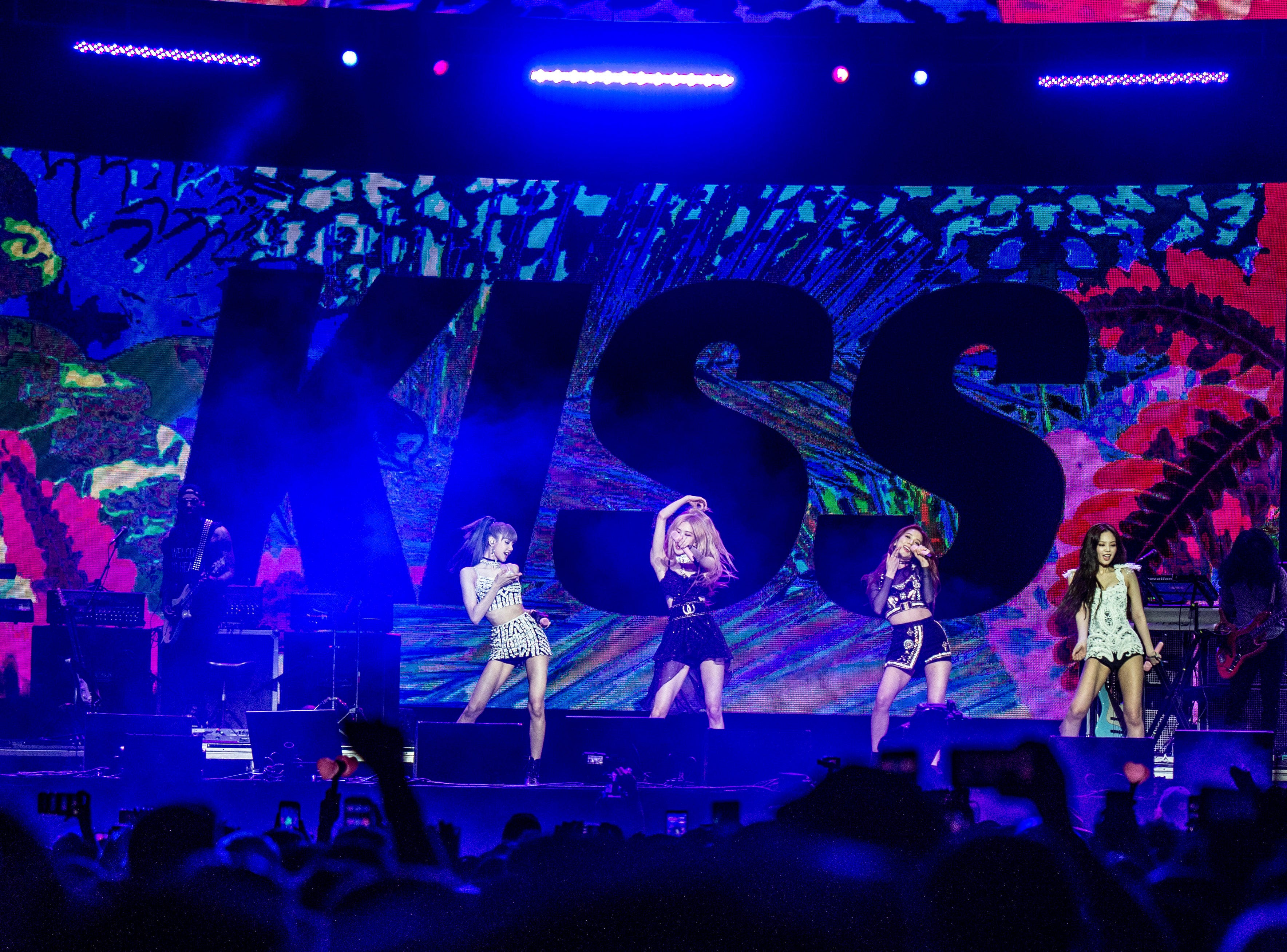 Lisa, from left, Rose, Jisoo, and Jennie Kim of BLACKPINK perform at the Coachella Music & Arts Festival at the Empire Polo Club on Friday, April 12, 2019, in Indio, Calif.