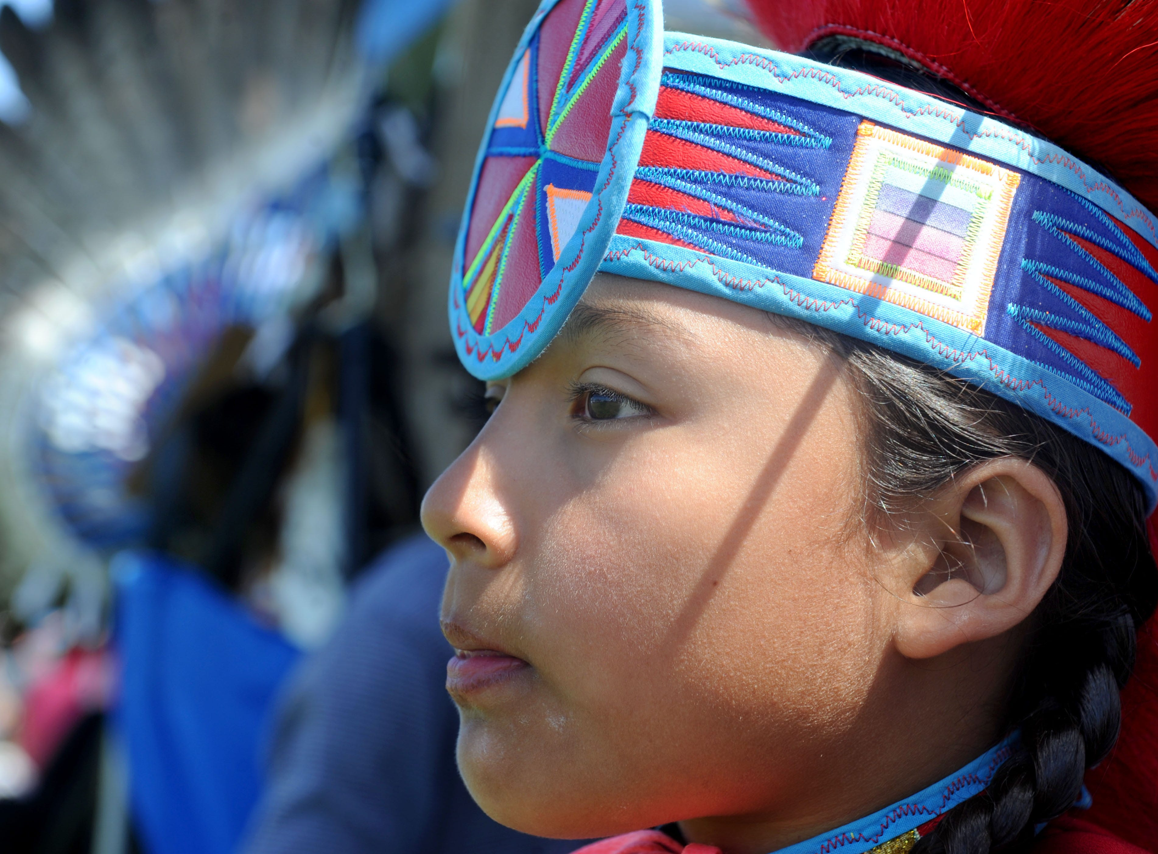 """Kenny Gonzales, of Bakersfield, participates Saturday during the intertribal powwow at Oxnard Beach Park. The theme was """"Honoring Our Elders and Veterans."""""""