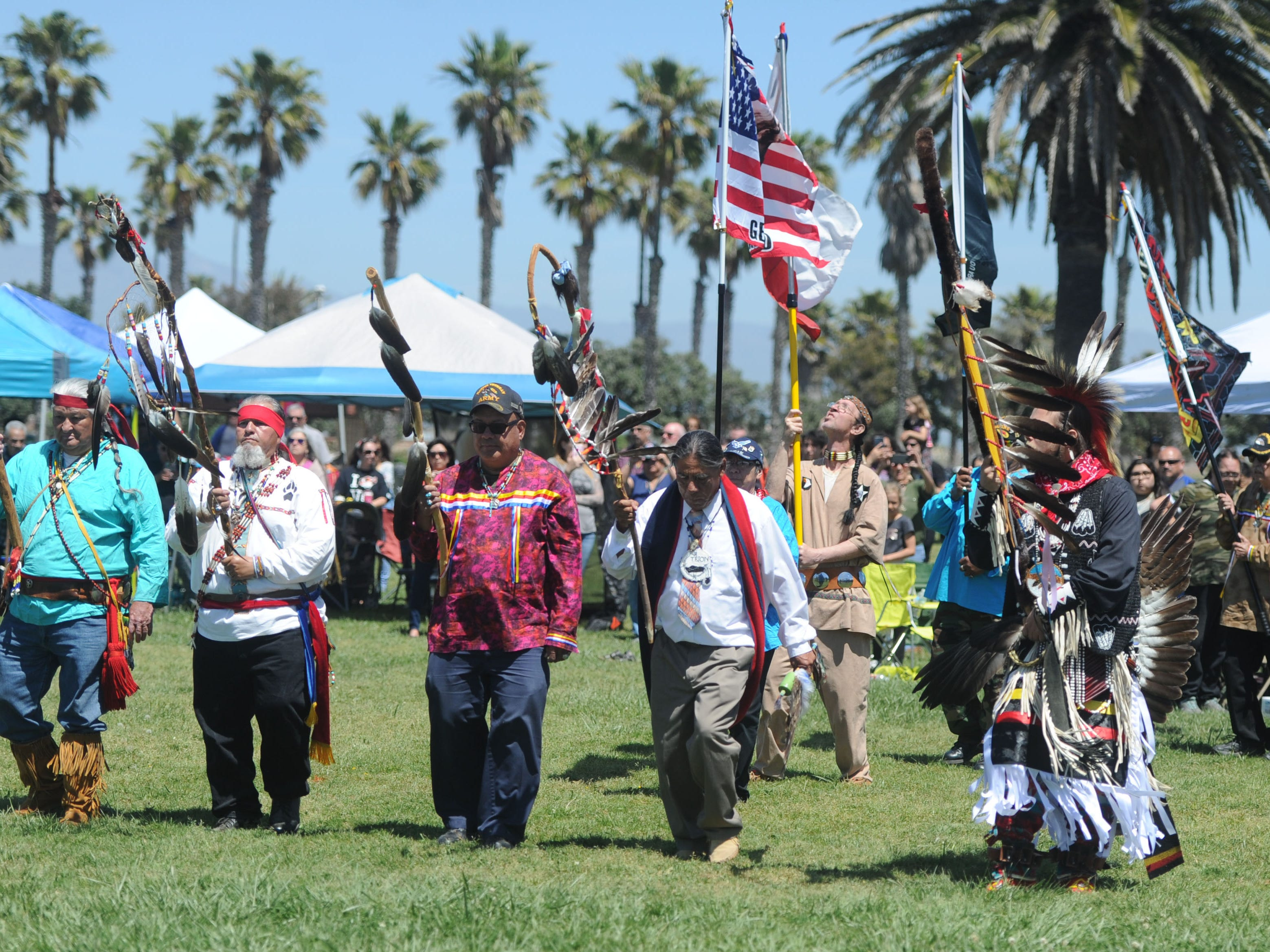 This was the grand entrance on the first day of the intertribal powwow at Oxnard Beach Park.