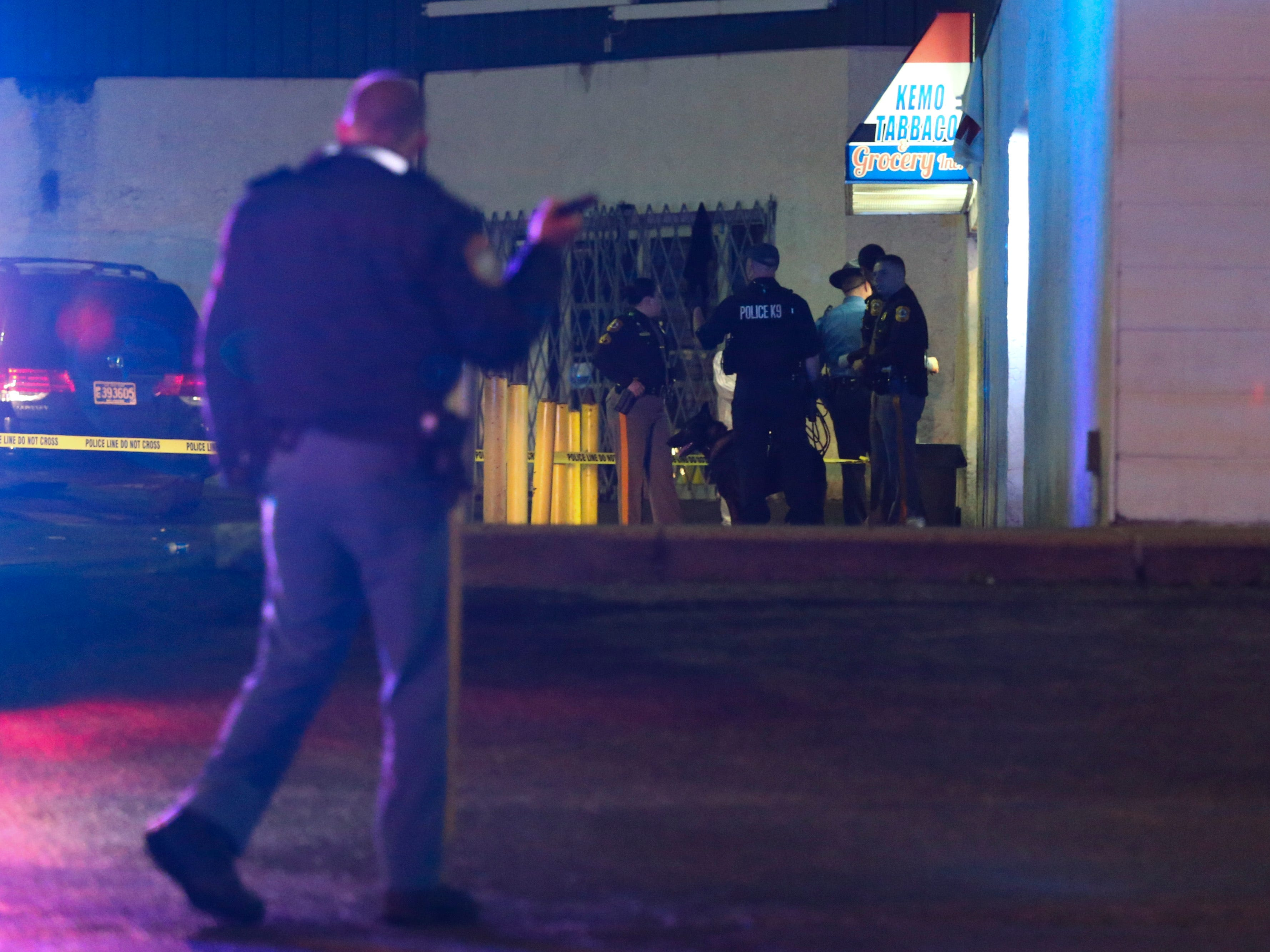Police investigate after a report of a shooting with possibly two or more victims at the Star Center shopping plaza on New Castle Avenue near New Castle, reported about 9:15 pm Friday.