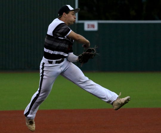 Wichita Falls High School's Zane Leonard throws to first in the game against Rider Friday, April 12, 2019, at Hoskins Field.