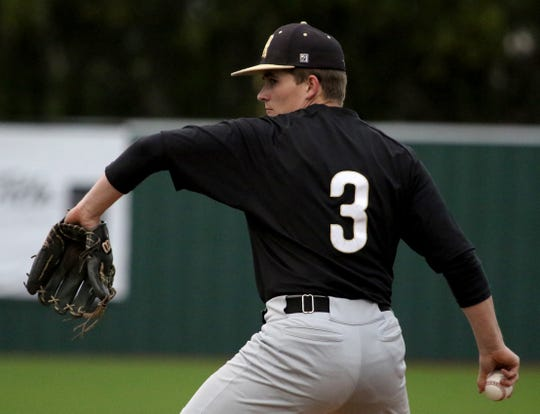 Rider's Chase Cowley pitches against Wichita Falls High School Friday, April 12, 2019, at Hoskins Field.