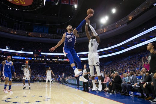 April 13: 76ers guard Ben Simmons blocks the shot attempt of Nets forward DeMarre Carroll during Game 1.