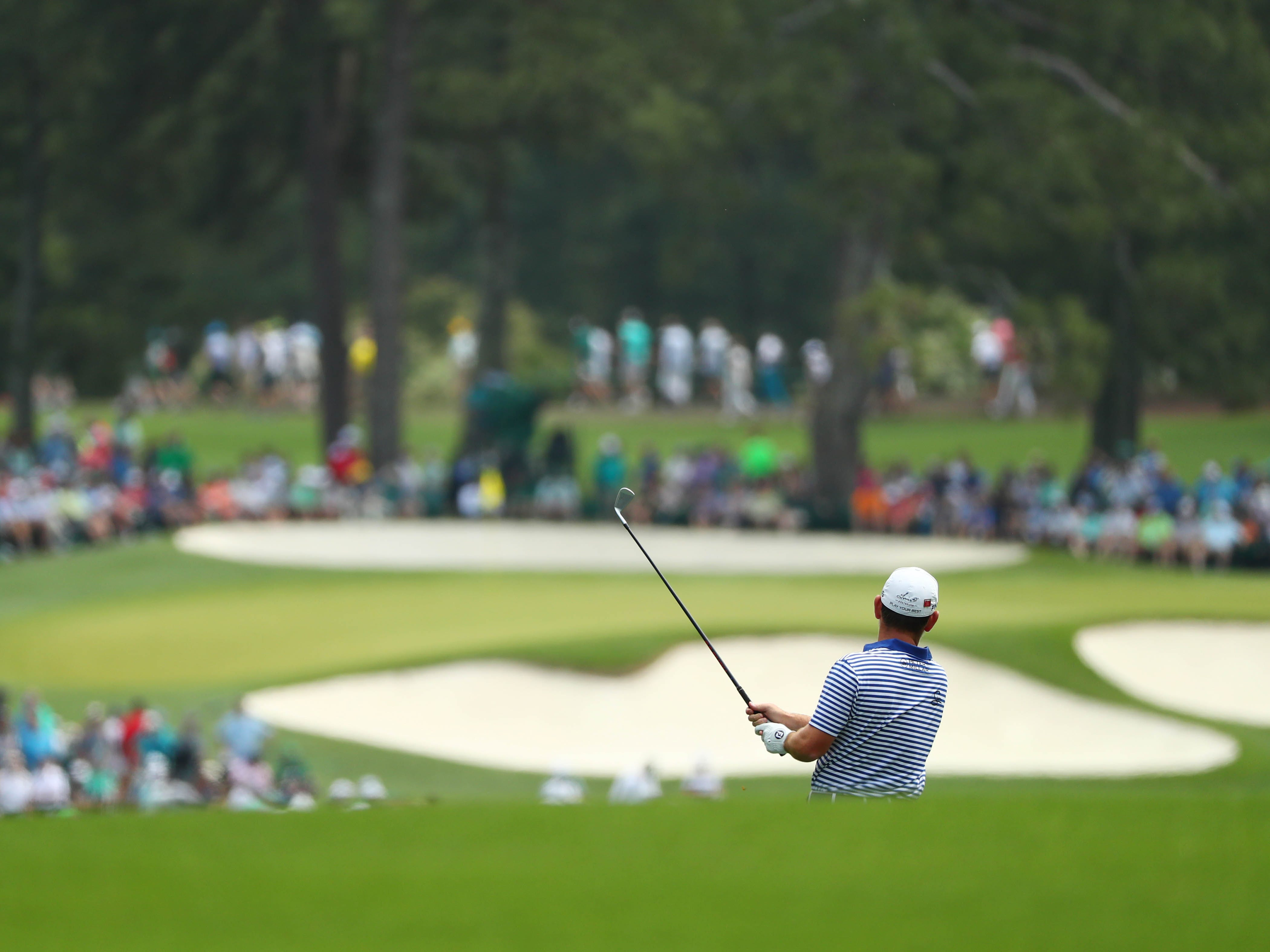 Louis Oosthuizen plays his approach to the second hole during the third round of the Masters.