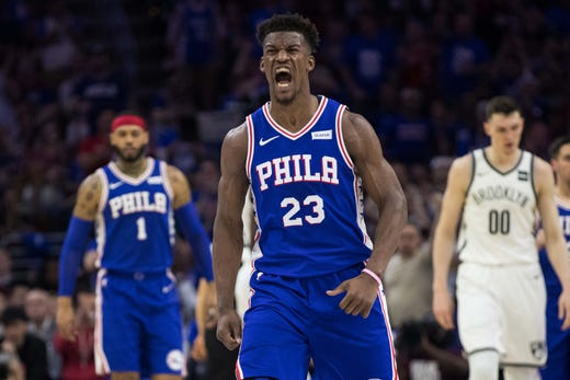 April 13: 76ers guard Jimmy Butler reacts after scoring and being fouled  during Game 1 against the Nets.