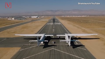 The world's largest airplane, built by rocket launch company Stratolaunch, took flight for the first time ever on Saturday morning.
