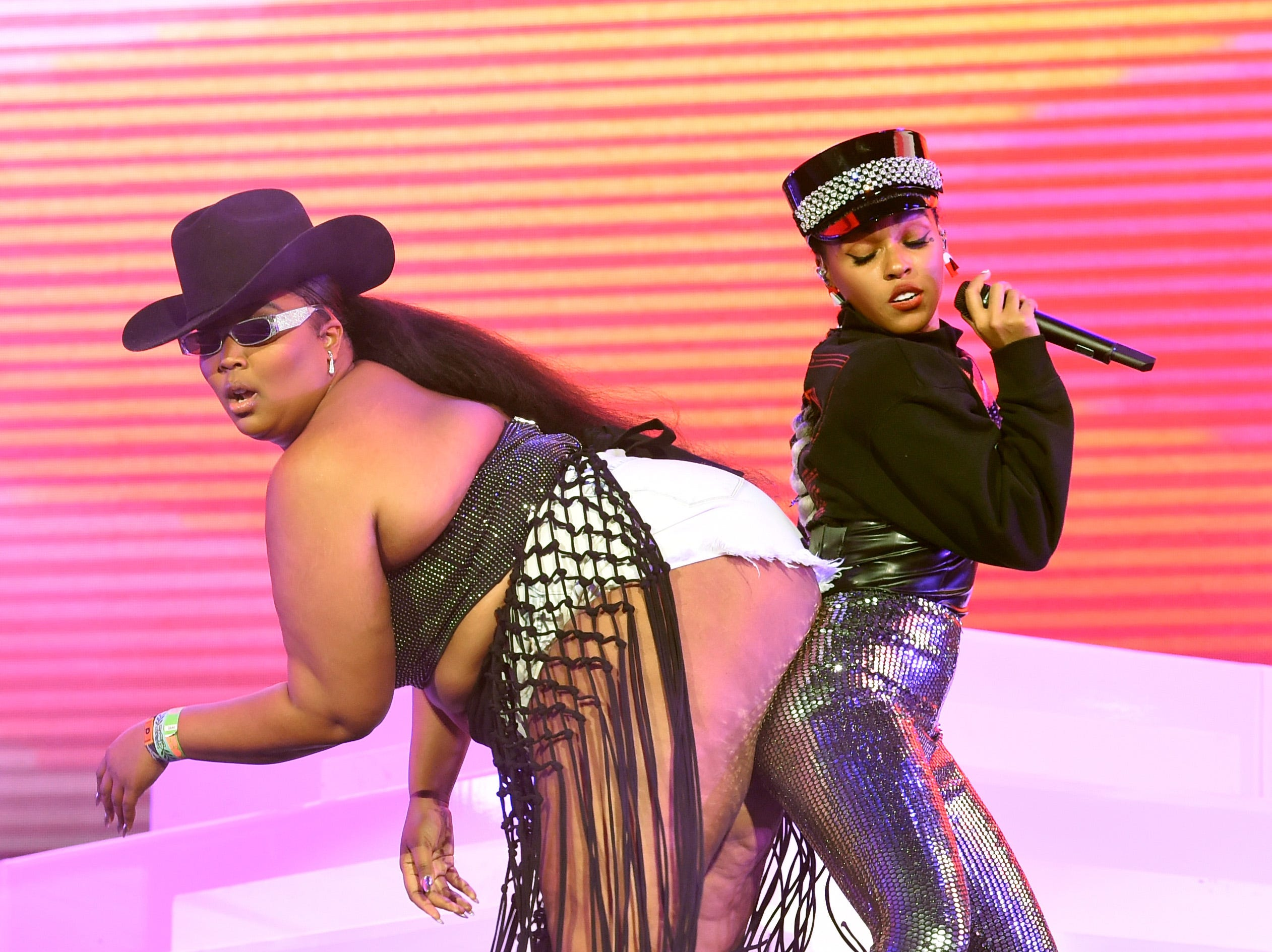 INDIO, CA - APRIL 12:  Lizzo and Janelle Monáe perform on Coachella Stage during the 2019 Coachella Valley Music And Arts Festival on April 12, 2019 in Indio, California.  (Photo by Kevin Winter/Getty Images for Coachella) ORG XMIT: 775319302 ORIG FILE ID: 1136618206
