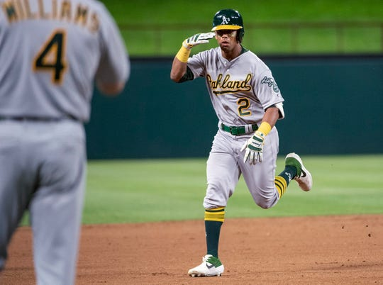 Oakland Athletics' Khris Davis (2) salutes third base coach Matt Williams (4) as he nears third on a solo home run off Texas Rangers relief pitcher Chris Martin during the eighth inning of a baseball game Friday, April 12, 2019, in Arlington, Texas. Oakland won 8-6. (AP Photo/Jeffrey McWhorter) ORG XMIT: ARL123