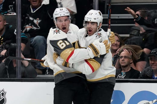 First round: Vegas Golden Knights forwards Mark Stone (61) and Max Pacioretty celebrate after scoring against the San Jose Sharks during the first period of Game 2.