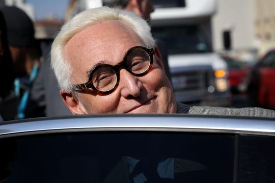 Roger Stone, former advisor to President Donald Trump, leaves the United States Courthouse E. Barrett Prettyman on March 14, 2019 in Washington, DC. in connection with accusations against him to lie to Congress.