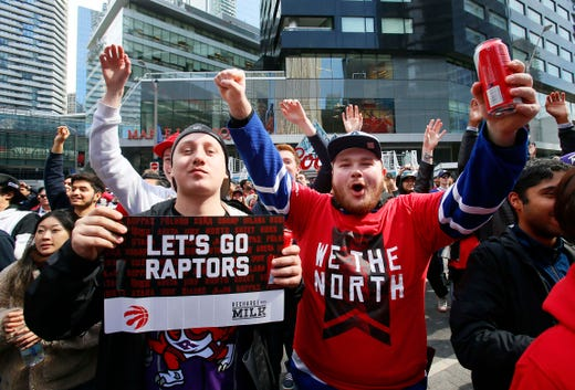 April 13: Raptors fans at Jurassic Park outside of Scotiabank Arena prior to Game 1 against the Magic.
