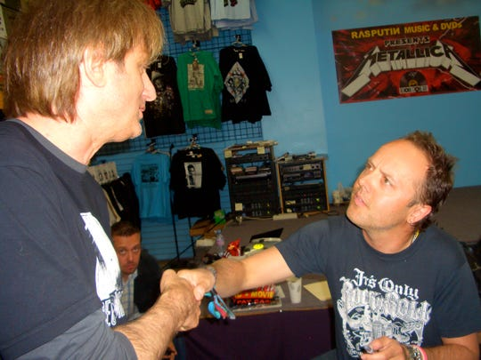 Record Store Day co-founder chats with Lars Ulrich, drummer for Metallica, during the first Record Store Day at Rasputin Music in San Francisco on April 19, 2008.