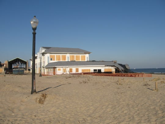 What was left of the old Homestead restaurant in Ocean Grove after superstorm Sandy hit. The restaurant  was later converted into  Dunes Boardwalk Cafe,  a collection of small eateries.