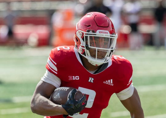 Rutgers Raheem Blackshear takes the ball in for a touchdown. 2018 Rutgers Football Scarlet-White game in Piscataway, NJ on April 13, 2019.
