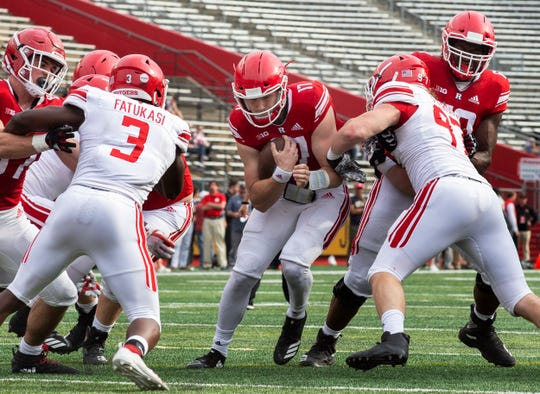 Johnny Langan, shown here running the ball during the Scarlet-White Game in April, will start at quarterback Saturday for Rutgers