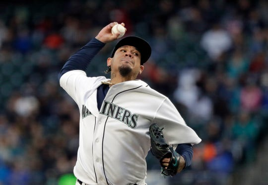 Seattle Mariners starting pitcher Felix Hernandez throws against the Houston Astros in the fifth inning of a baseball game Saturday, April 13, 2019, in Seattle.