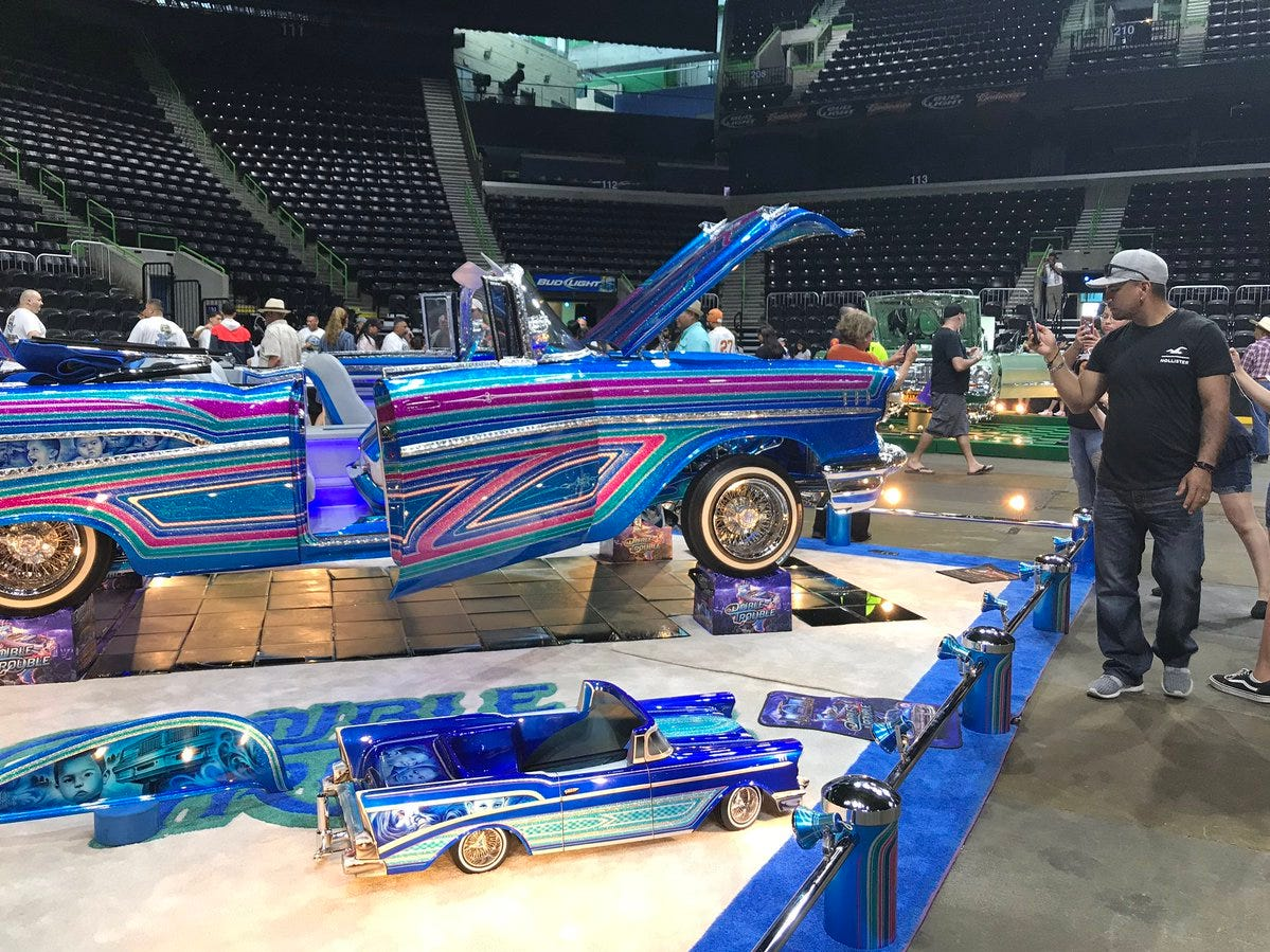 Some of the cars inside the American Bank Center for Fiesta de la Flor in Corpus Christi.
