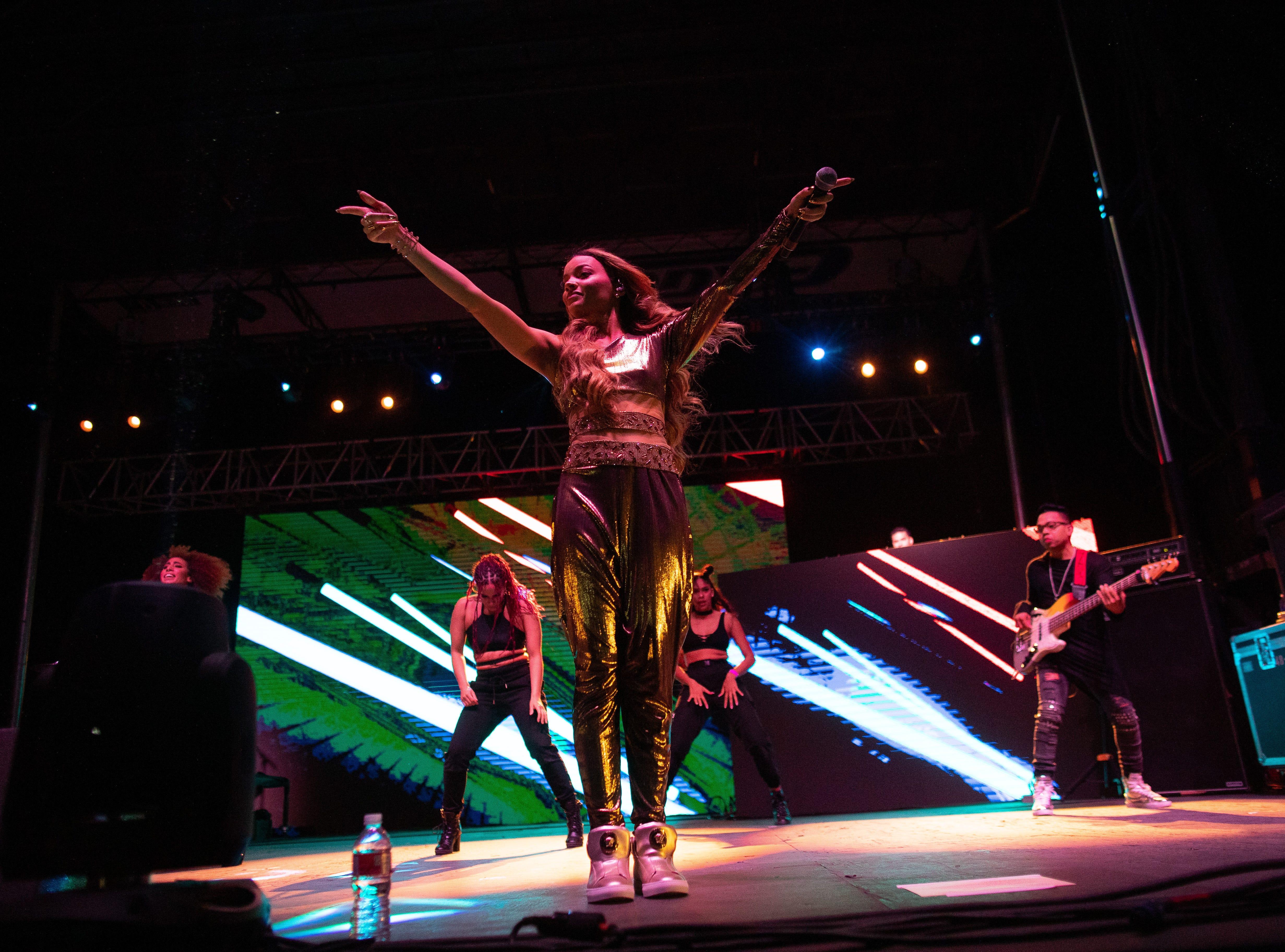 Leslie Grace preforms during the second day of Fiesta de la Flor on Saturday, April 13, 2019.