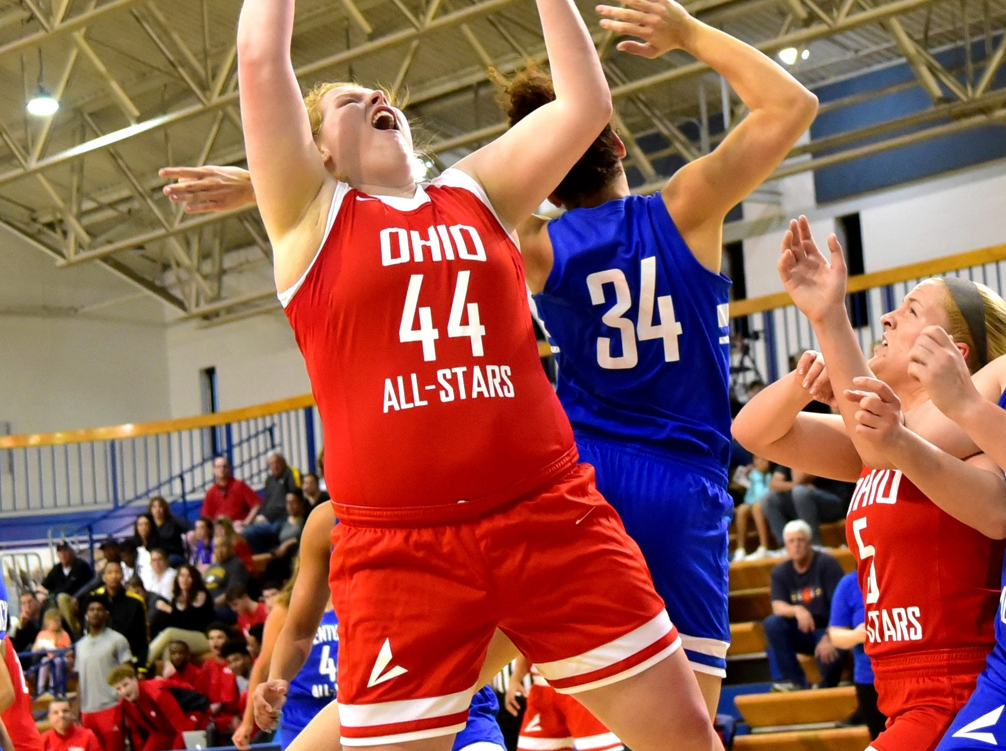 Emma Shaffer (44) of Ursuline Academy pulls down a rebound for the Ohio girls team at the 28th Annual Ohio-Kentucky All Star Games played at Thomas More University, April 13, 2019