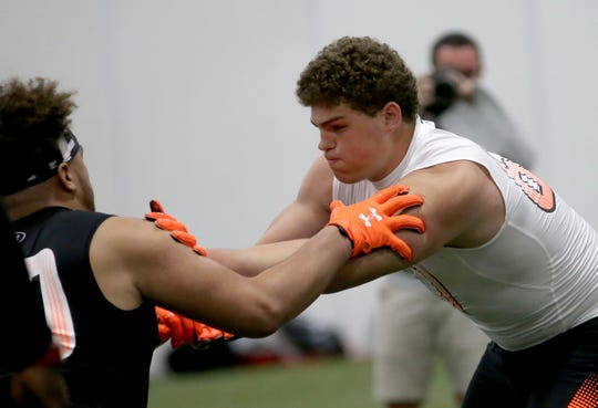 Elder offensive lineman Luke Kandra competes in pass-blocking drills during the Under Armour All-American  Camp in Cincinnati, Sunday, April 14, 2019.