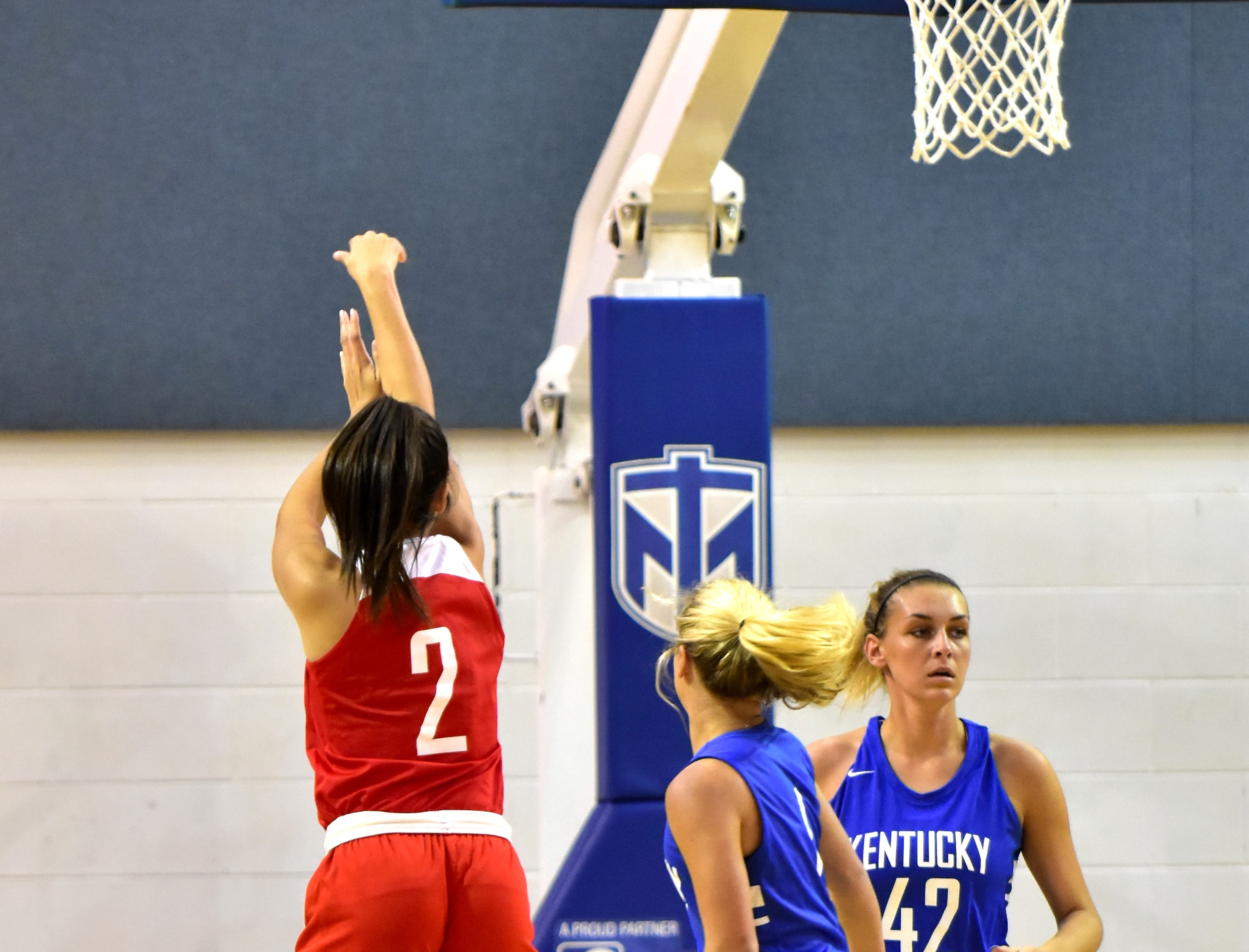 Gabbie Marshall (2) of Mount Notre Dame drains a three-pointer for the Ohio girls team at the 28th Annual Ohio-Kentucky All-Star games played at Thomas More University, April 13, 2019
