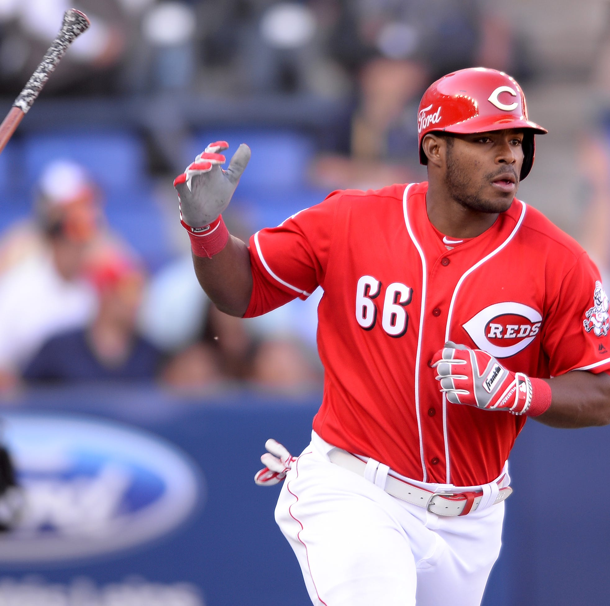 Cincinnati Reds outfielder Yasiel Puig makes his long-awaited return to Los Angeles