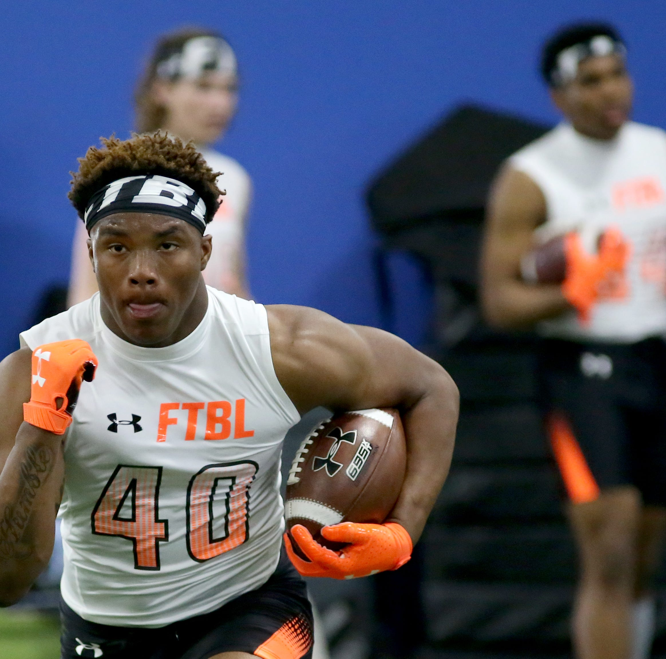 Roger Bacon running back Corey Kiner runs the ball during the Under Armour All-American Camp in Cincinnati, Sunday, April 14, 2019.
